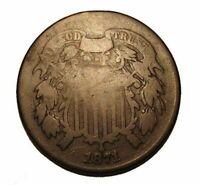 Semi Key Date 1871 Two Cent Piece Early US 2 Cent Coin