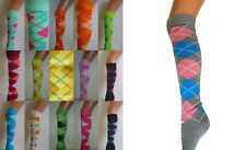 ARGYLE CHECK DIAMOND STRETCH LONG KNEE HIGH SOCKS PUB GOLF FANCY DRESS NEW
