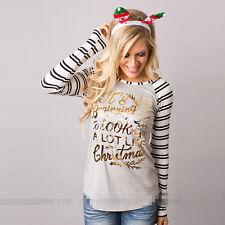 Damen Weihnachten Kapuzenpullover Hoodies Christmas Pullover Pulli Sweater Tops