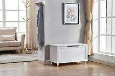 Elegant Style Wooden Furniture Living Room Storage Bench White Finish Home Decor