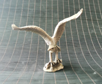 Collectible Chinese Fengshui white Copper carved eagle Statue Table Top Decorate