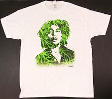 BOB MARLEY LEAVES T-shirt Marijuana Rasta Reggae ZION Tee Adult 2XL White New