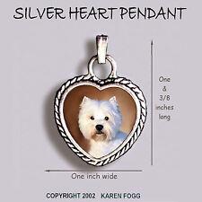 West Highland White Terrier Dog Westie - Ornate Heart Pendant Tibetan Silver