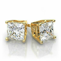 10k Yellow Gold Square Stud Earrings Clear White CZ Earrings Studs Princess Cut