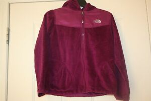 The North Face Girls Hooded Purple Fuzzy Jacket Girls XL 14 16 Womens XS