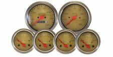 VEETHREE CLASSIC GOLD 6 GAUGE MECHANICAL SPEEDOMETER INSTRUMENT KIT STREET ROD