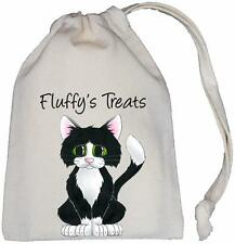 Personalised - Kitty Cat Treats Bag - Natural Cotton (Cream) Drawstring Bag
