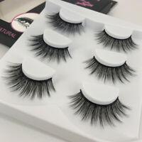 3 Pairs Handmade Natural Thick Long Cross False Eyelashes Makeup Mink Eye Lashes