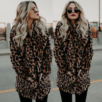Women Faux Fur Leopard Coat Winter Cardigan Jacket Top Long Sleeve Outwear WARM#