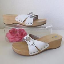 Vintage Dr. Scholl's The Original Slide Sandal 9 Italy White Leather Wooden Sole