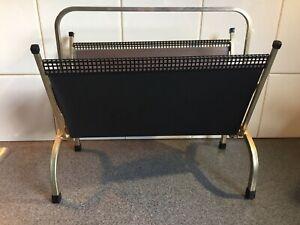 Art Deco brass metal frame black mesh leatherette vinyl magazine rack 38 cm high