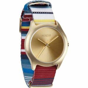 Nixon Women's A3481685 The Mod Gold Tone Dial Multicolor Nylon Strap Watch