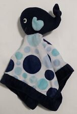 Carter's Baby Whale Plush Velour Lovey Security Blanket Navy Blue Polka Dots EUC