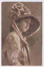 POSTCARD - children, beautiful girl in bonnet hat, believed to be Grete Reinwald
