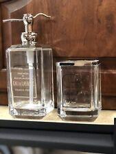 Bella Lux 2 pc Apothecary Bathroom Accessories Soap Dish Lotion Dispenser Glass
