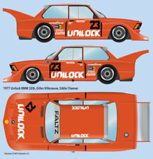 1977 Unilock BMW 320i 1/24 scale water transfer decals, for Tamiya Villeneuve