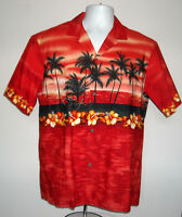 MENS ROYAL CREATIONS HAWAIIAN SHIRT LARGE RED PALM TREES ALOHA HIBISCUS BOAT
