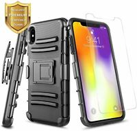 For iPhone X XR XS Max Case, Belt Clip Holster Heavy Duty Cover + Tempered Glass