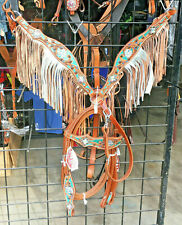 New Showman Limited Edition Bridle & Breast Collar Set Fringe Bling Horse Tack