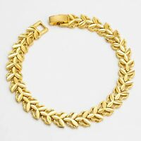 """Women's Unique Bracelet Chain 18K Yellow Gold Filled 7.7"""" Link Fashion Jewelry"""