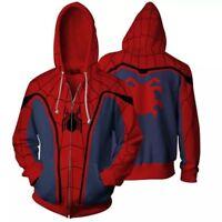 SPIDERMAN Homecoming Cosplay Mens Zipper Casual Hoodie Sweatshirt Jacket Coat