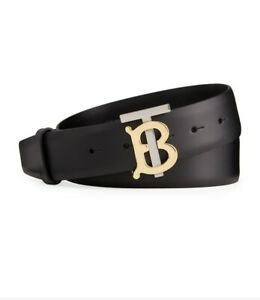 BURBERRY TB belt Black TB Plaque Smooth Two Tone Silver And Gold TB leather Belt