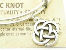 Wind and Fire 3d Celtic Knot Charm Silver Wire Stackable Bangle Bracelet Gift
