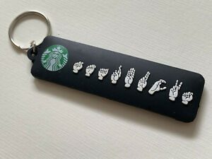 STARBUCKS Sign Language and Braille Keychain - VERY RARE deaf collectible
