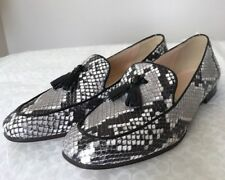 New J Crew Charlie Tassel Loafers Snakeskin Printed Leather 6 #F5592 Shoes Flat