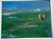 "'Whitefish' print Glen Prestegaard 18""x24"" airbrush signed 1988 Montana city"