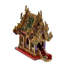 Geisterhaus Schrein Erdgeister Thailand Gold Rot Grüne Spiegelsteine 25 cm