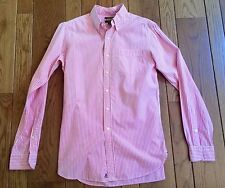 RUGBY RALPH LAUREN Pink/White Stripe Cotton Button Down Small