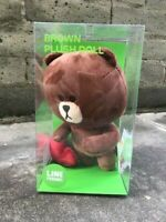 "Line Friends 10"" Official Heart Brown Sitting Doll Stuffed Plush Brown Bear NEW"