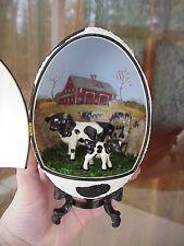 Real Rhea Egg Holstein Dairy Farm Cow Calf Collectible Hagen Renaker OOAK