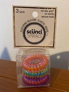 Scunci Silicone Elastic No-slip Grip Spirals, 3 Count