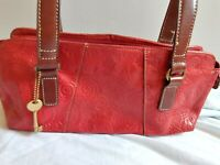 FOSSIL small  tooled shoulder hand bag tote purse RED NICE!