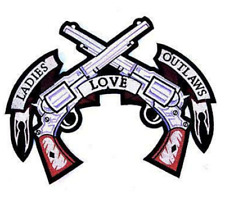 1 NEW JUMBO LADIES LOVE OUTLAWS PISTOLS JACKET BACK PATCH embroidered JBP9
