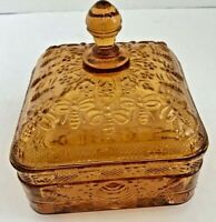 Tiara Indiana Glass Honey Bee Box ~ Amber ~ Candy Dish Honeybee Honeycombs