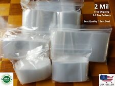 Clear Reclosable Zip Top Poly Plastic 2 Mil Bags Jewelry Zipper Lock Baggies