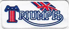 """Triumph Motorcycle, OIF, Embroidered Union Jack & USA  Patch, 4.75"""" x 2"""" , F/SH"""