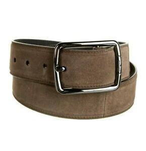L-5124 New Salvatore Ferragamo Square Buckle Suede Belt Size 34 Fits 32
