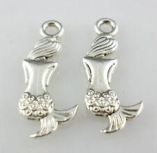24pcs Tibetan Silver Mermaid figure Charms Pendants 8x20.5mm for Jewelry Making