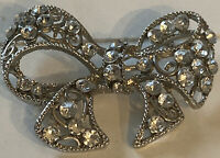 Vintage Costume Jewellery Openwork Crystal Lattice Silver Tone Bow Large Brooch