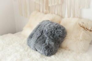 Sheepskin Pillow Natural Gray Real Sheepskin Merino Decorative Cushion Kissen