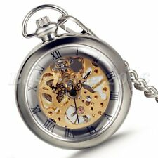 Vintage Steampunk Mechanical Skeleton Pocket Watch Antique Necklace Chain Gifts