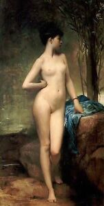 """Stunning Oil painting young bather nice beauty girl by sunset river canvas 36"""""""