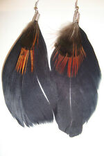 Long Peruvian Alpaca Silver & Feather Boho Earrings~V~uk seller~