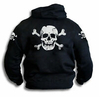 Skull n Bones Mens Womens Pirate Biker Black Hoodie With Sleeve Prints Sm - 2XL