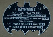 CUSTOM BATMOBILE SERIAL DATA PLATE 1989 MANUFACTURER BATMAN DARK KNIGHT COWL