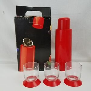 Vintage Bodum Switzerland Mid Century Red Thermos and Glasses Picnic Takeaway